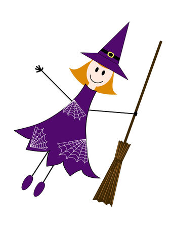 flying hat: cute Halloween witch drawn in childish manner