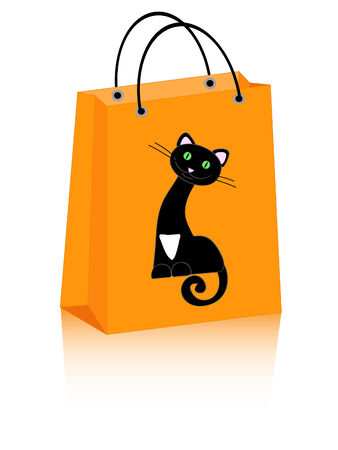Halloween shopping bag with cute black cat Vector