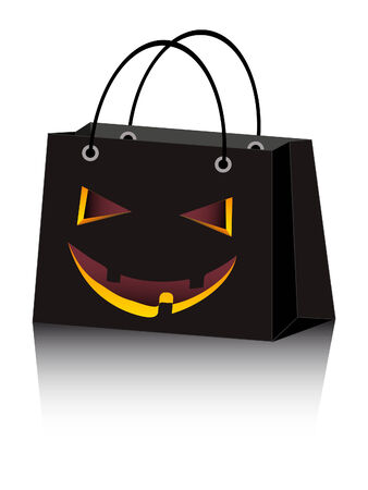holiday shopping:  Halloween shopping bag with scary face