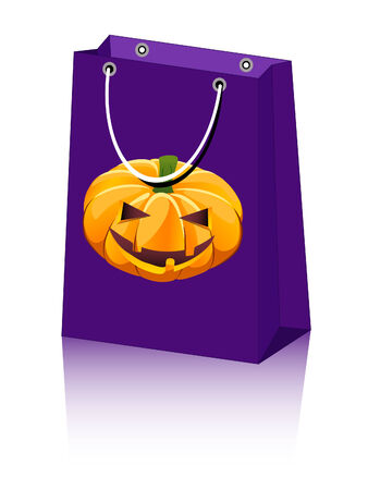 Halloween shopping bag with jack-o-lantern pumpkin Stock Vector - 7750312