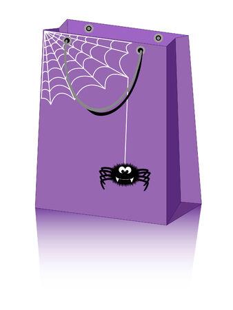 Halloween shopping bag with cute spider Illusztráció