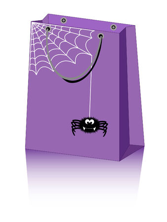 Halloween shopping bag with cute spider Vector