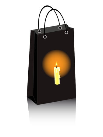 Halloween shopping bag with lighting candle Vector
