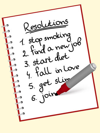 a list of resolutions for starting new life Vector