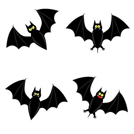 cute vleermuis in 4 verschillende rassen Vector Illustratie