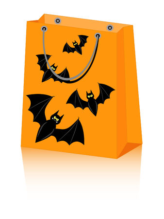 Halloween shopping bag with spooky bats Vector