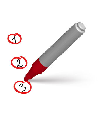 encircling: red marker encircling  numerals on the white paper