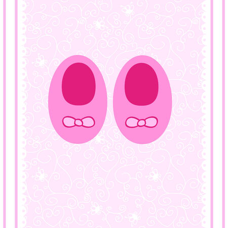 a cute postcard with small baby shoes for a girl