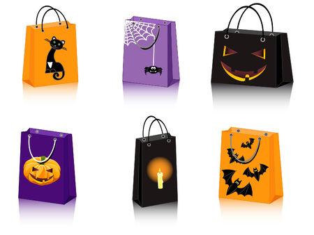 a set of six Halloween shopping bags