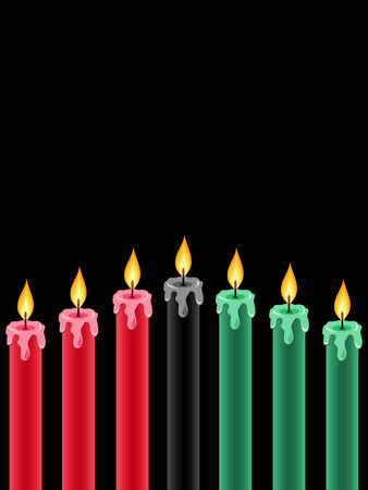 seven kwanzaa candles lightning on the black background Vector