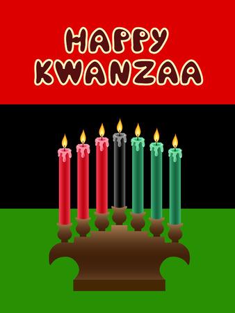 liberation: kwanzaa kinara with The Black Liberation Flag as backdrop