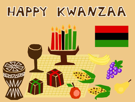 traditional kwanzaa stuff drawn in simple manner Vector