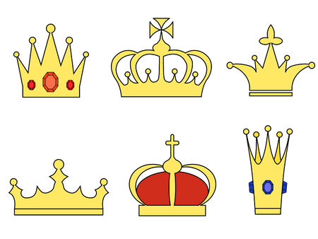 a set of six different shaped crowns Vector