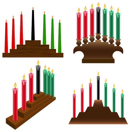 a set of four different Kwanzaa kinara