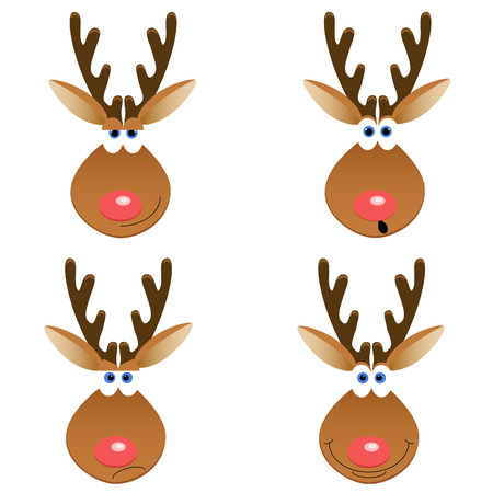 a set of four Christmas deer faces with different emotions Фото со стока - 8419742