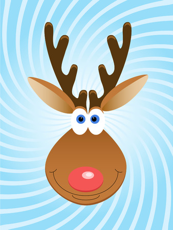 Christmas deer's face over blue twirled background Illustration