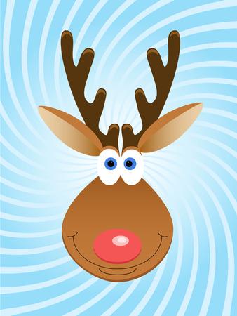 twirled: Faccia del cervo di Natale su sfondo blu di twirled Vettoriali