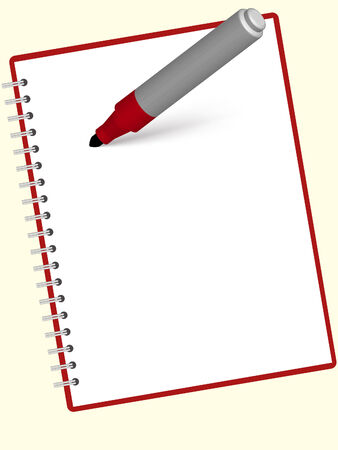 an empty notebook and red marker