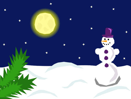 a cute smiling snowman standing under the moonlight Stock Vector - 8419740