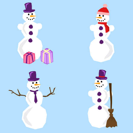 a set of four snowmen with different accessories drawn in simple manner Vector