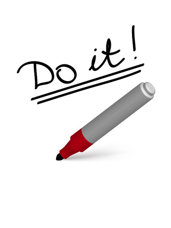 «Do it» slogan written by marker on the white background