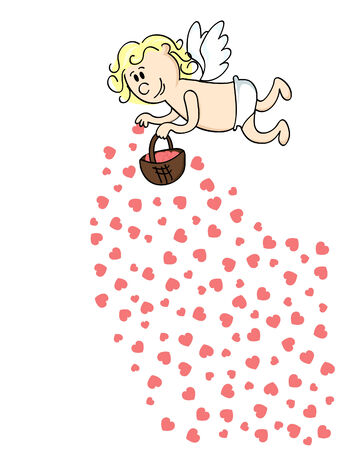 cute cartoon Cupid throwing red hearts from a basket Vettoriali