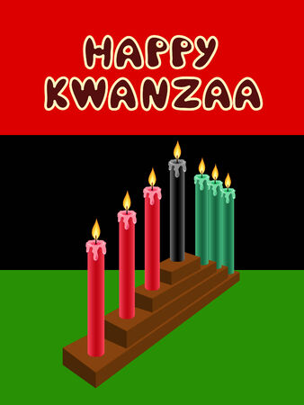 liberation: kwanzaa kinara with The Black Liberation Flag as backdrop