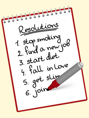a list of resolutions for starting new life Stock Vector - 8690920