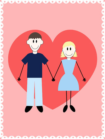 a simply drawn couple in love on a pink background with a heart Vetores