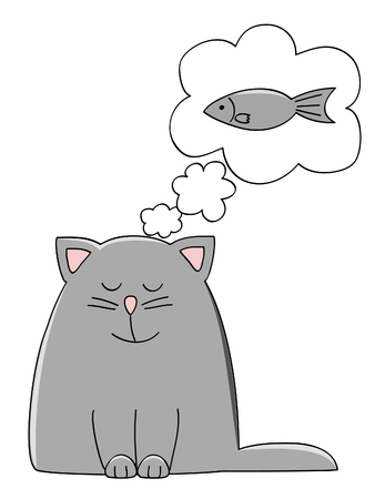 feeding: a cute kitten dreaming of a fish