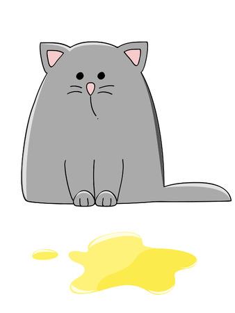 pee pee: gattino grigio triste vicino a un pool di giallo