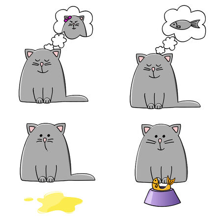 a set of four cute plump kittens in different situations Illustration