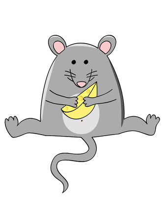 a funny fat sitting mouse with a piece of cheese Ilustracja