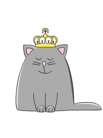 a cute grey smiling cat with a crown on his head Ilustração
