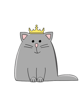 a cute grey smiling cat with a crown on his head Vettoriali