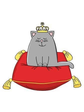 grey cat: a cute grey crowned cat sitting on  a red cushion