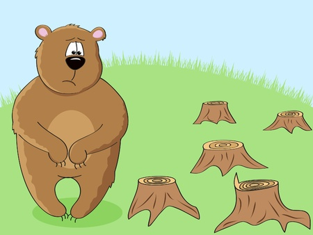 fur trees: a sad brown bear looking at stumps after forest cutting down Illustration