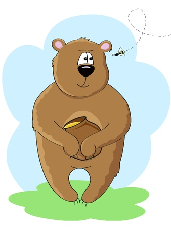a bear with honey pot in his paws looking at the bee