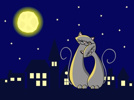 two grey cats in love sitting at the roof at night Vettoriali