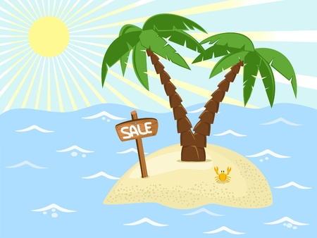 palmtree: tropic island with palm trees and sale banner Illustration