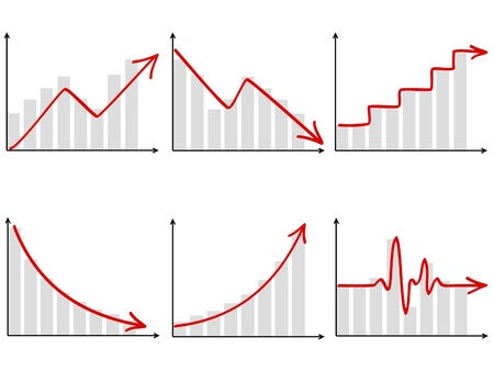 stock graph: a set of six different diagrams