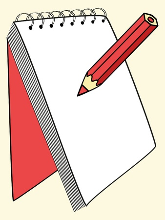 pad and pen: an empty notebook and red pencil vector illustration