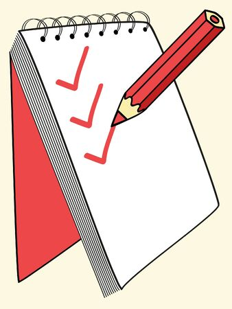 red pencil putting ticks at the notebook  Vector