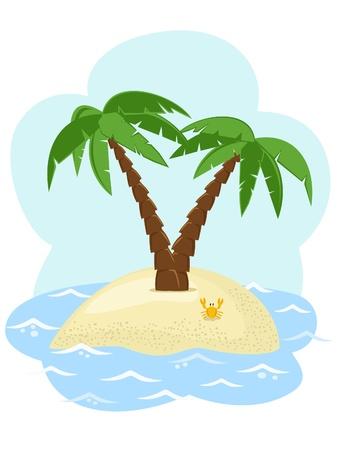 海の中の 2 つのヤシの木と熱帯の島