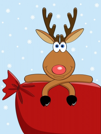 a cute vector deer with a big christmas bag Vettoriali