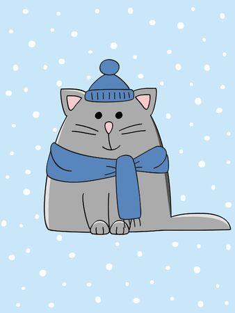 winter fun: een leuke winter gekleed kitten op een besneeuwde achtergrond