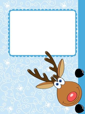 vector card with a cute Christmas deer