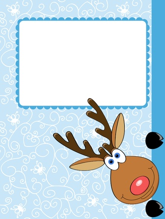 cute christmas: vector card with a cute Christmas deer