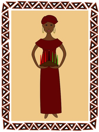 クワンザ kinara と伝統的な服でアフリカの女性