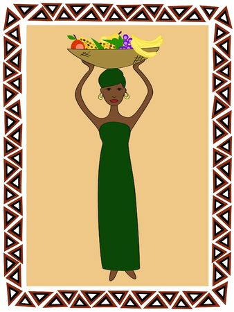 an African woman in traditional clothes with a dish of fruit on her head